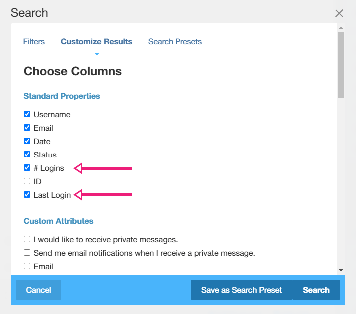 Customizing the columns displayed in concrete5 users' list