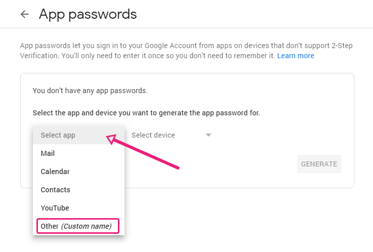 In Gmail select to create a custom app.